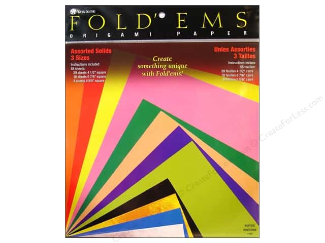 Yasutomo Fold Ems Origami Paper Assorted Size 55 Pc Solid Large