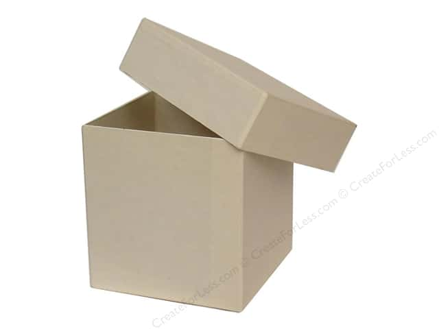 Paper mache tall square box vanilla by craft pedlars 12 for Craft paper mache boxes