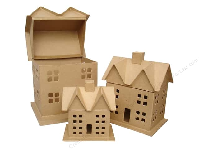 Paper mache box house set of 3 by craft pedlars 4 sets for Craft paper mache boxes