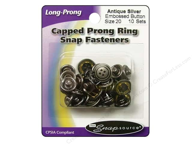 Snapsource Capped Prong Ring Snap Fasteners Size 20 Antique Silver Embossed  Button 1