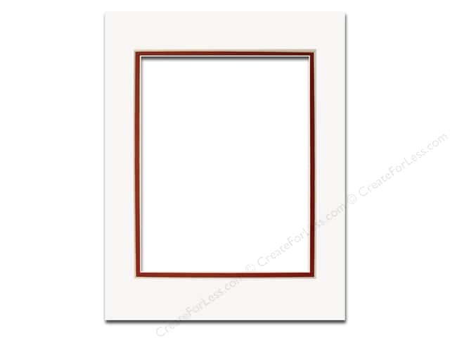 Pre Cut Double Photo Mat Board Cream Core 11 X 14 In Whitedeep Red