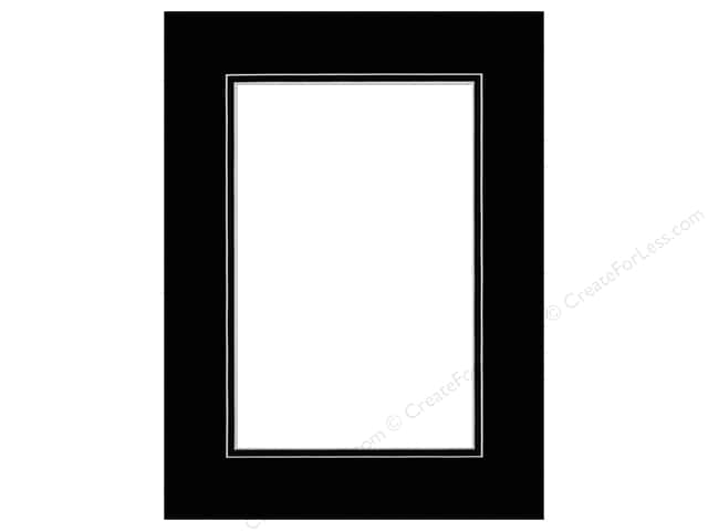 Pre-cut Double Photo Mat Board White Core 12 x 16 in. Black/Black ...