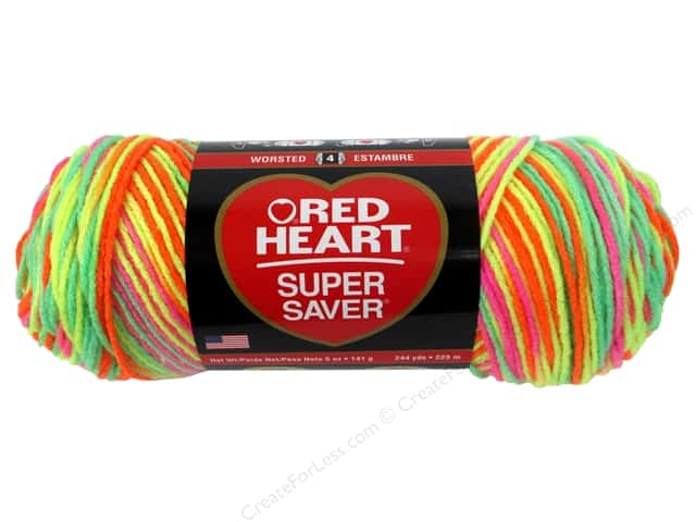 Red Heart Super Saver Yarn 236 yd. Day Glow -- CreateForLess