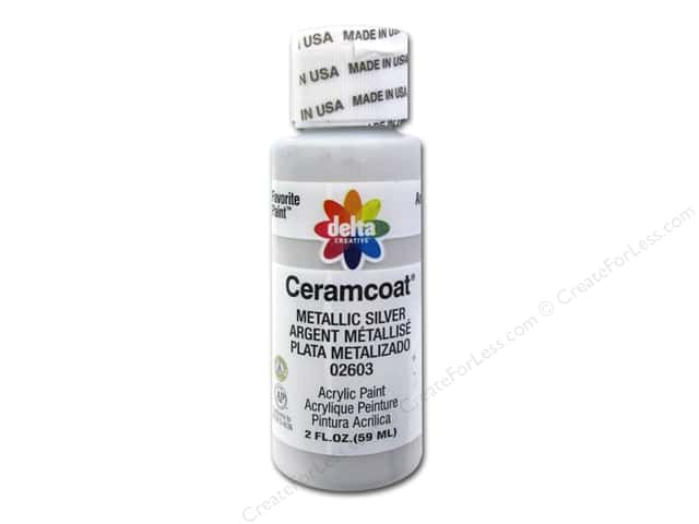 Ceramcoat Acrylic Paint by Delta 2 oz. Metallic Silver -- CreateForLess