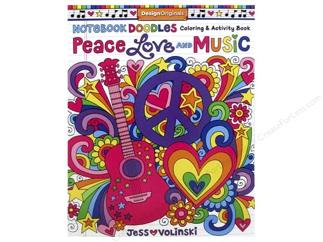 Design Originals Notebook Doodles Peace Love Music Coloring Book