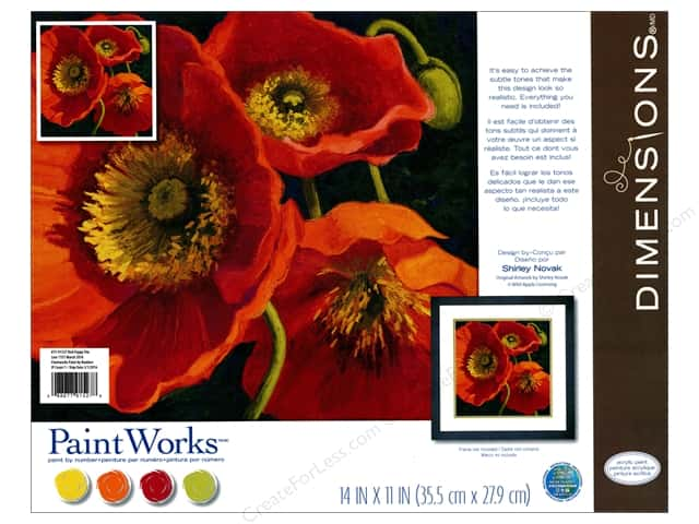 Dimensions Paint By Number 11x11 Red Poppy Trio Createforless