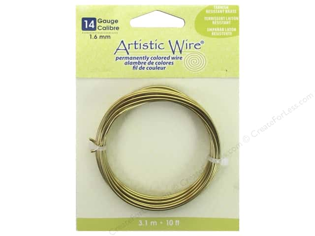 Artistic Wire 14 ga. Wire 10 ft. Non Tarnish Brass -- CreateForLess