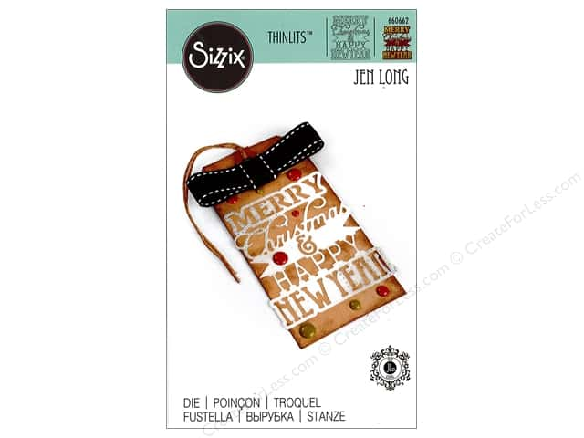 Sizzix Thinlits Die 1 pc. Merry Christmas & Happy New Year Phrase ...