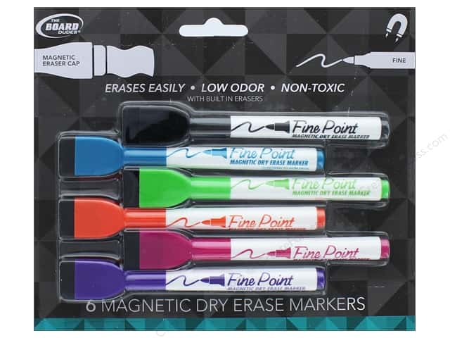 Magnetic Dry Erase Markers with Erasers 6 pc. Fine Point