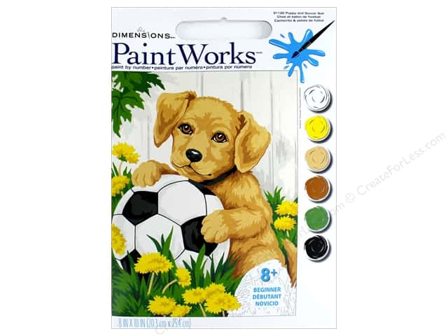 Dimensions Paint By Number 8x10 Puppy Soccer Ball Createforless