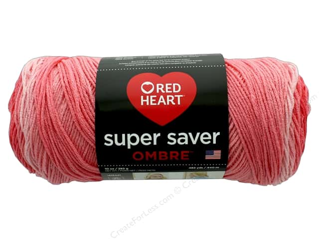 Red Heart Super Saver Ombre Yarn 482 Yd Sea Coral