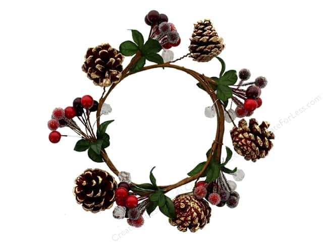 darice christmas candle ring 45 in berry red - Decorative Christmas Candle Rings