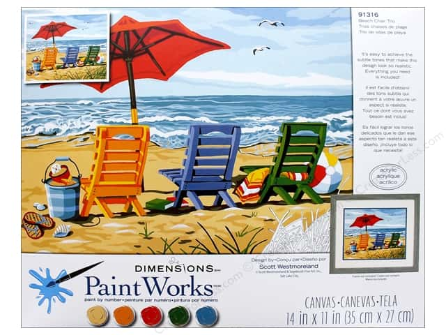 Dimensions Paint By Number 14x11 Beach Chair Trio Createforless