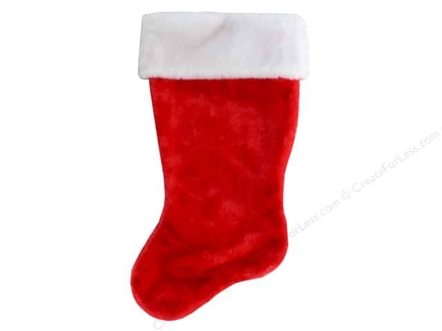 darice decor stocking plush christmas classic redwhite 18 in