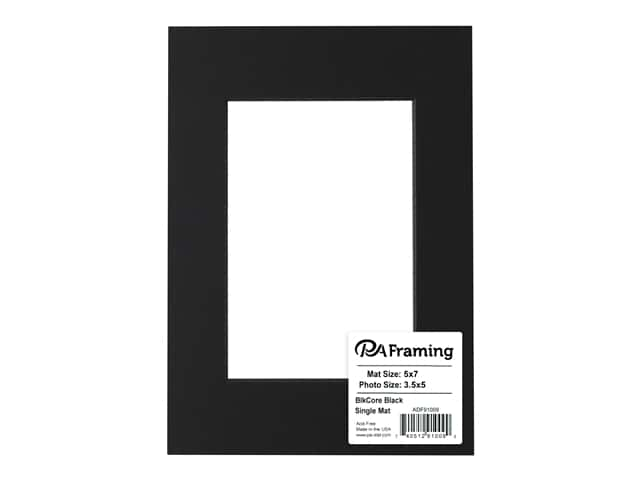 Pa Framing Pre Cut Photo Mat Board Black Core 5 X 7 In For