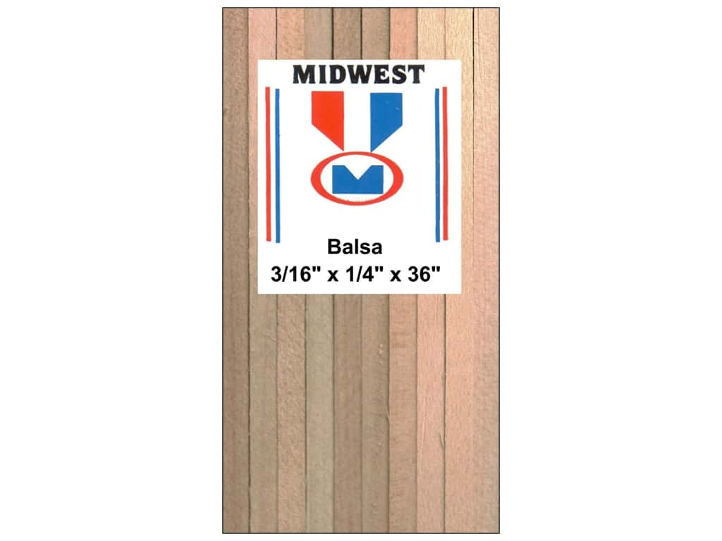 Midwest Balsa Wood Strips 3 16 X 1 4 X 36 In 20 Pieces