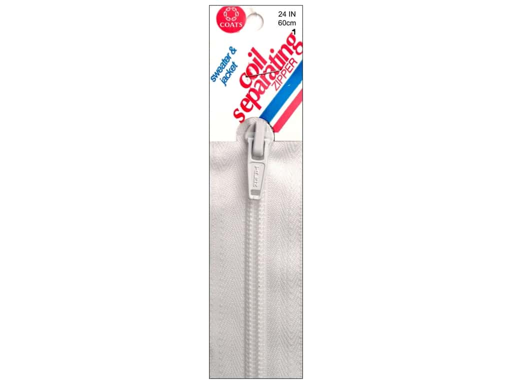 White 24-Inch Coats Thread /& Zippers and Sport Separating Zipper