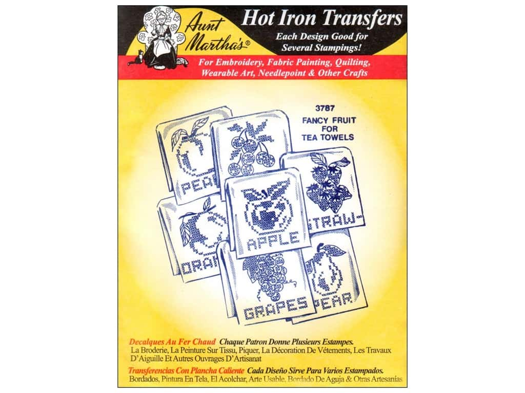 Aunt Martha's Hot Iron Transfer #3787 Fancy Fruit for Tea Towels 1