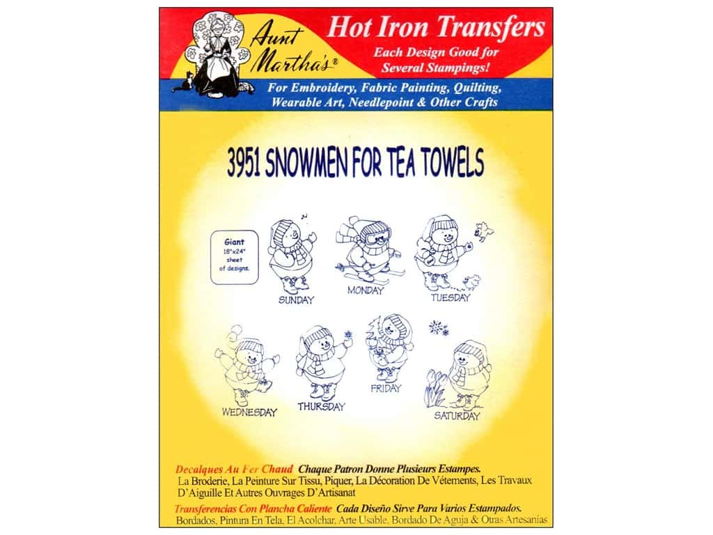 Aunt Martha's Hot Iron Transfer #3951 Snowmen 1
