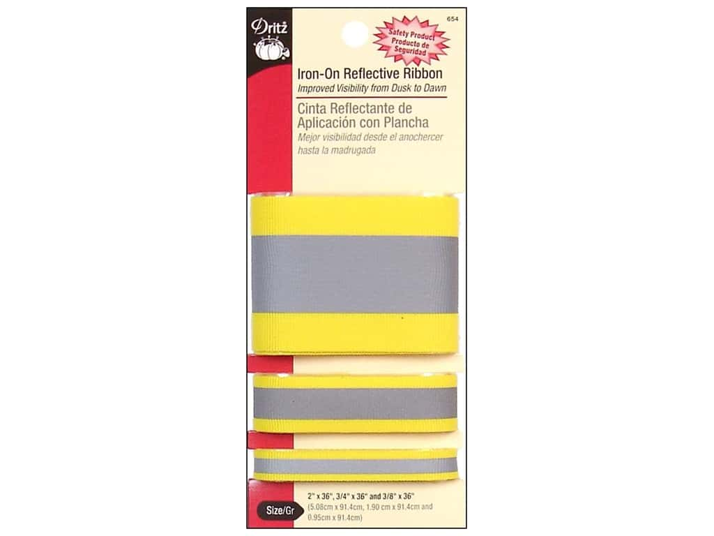 Iron-On Reflective Ribbon by Dritz Yellow 1
