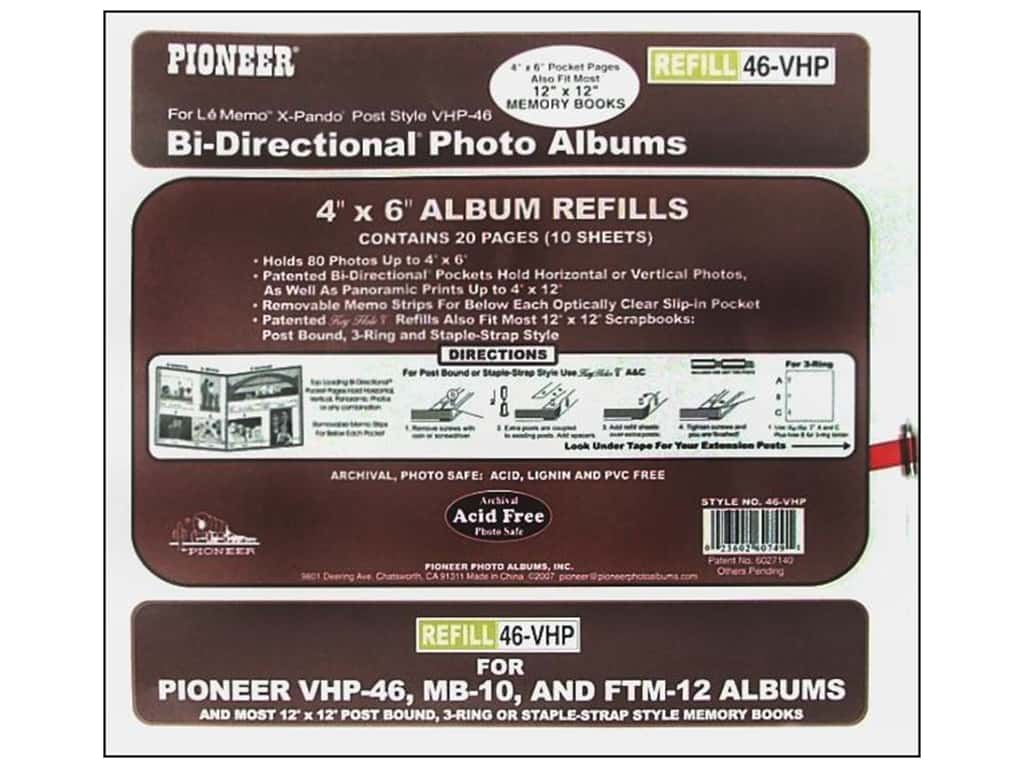 Pioneer Refill Page Scrapbook 12x12 With 4x6 Pkt Createforless