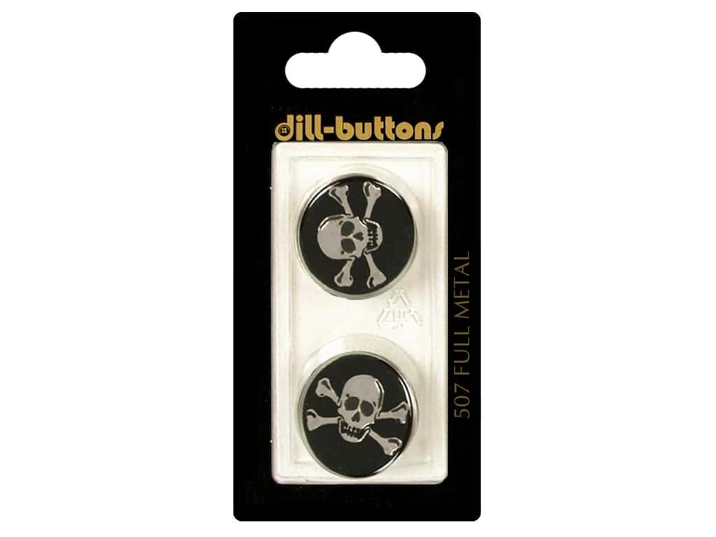 DILL BUTTONS OF AMERICA 507  DILL BUTTONS 20MM 2PC SHANK METAL ENAMEL BLACK