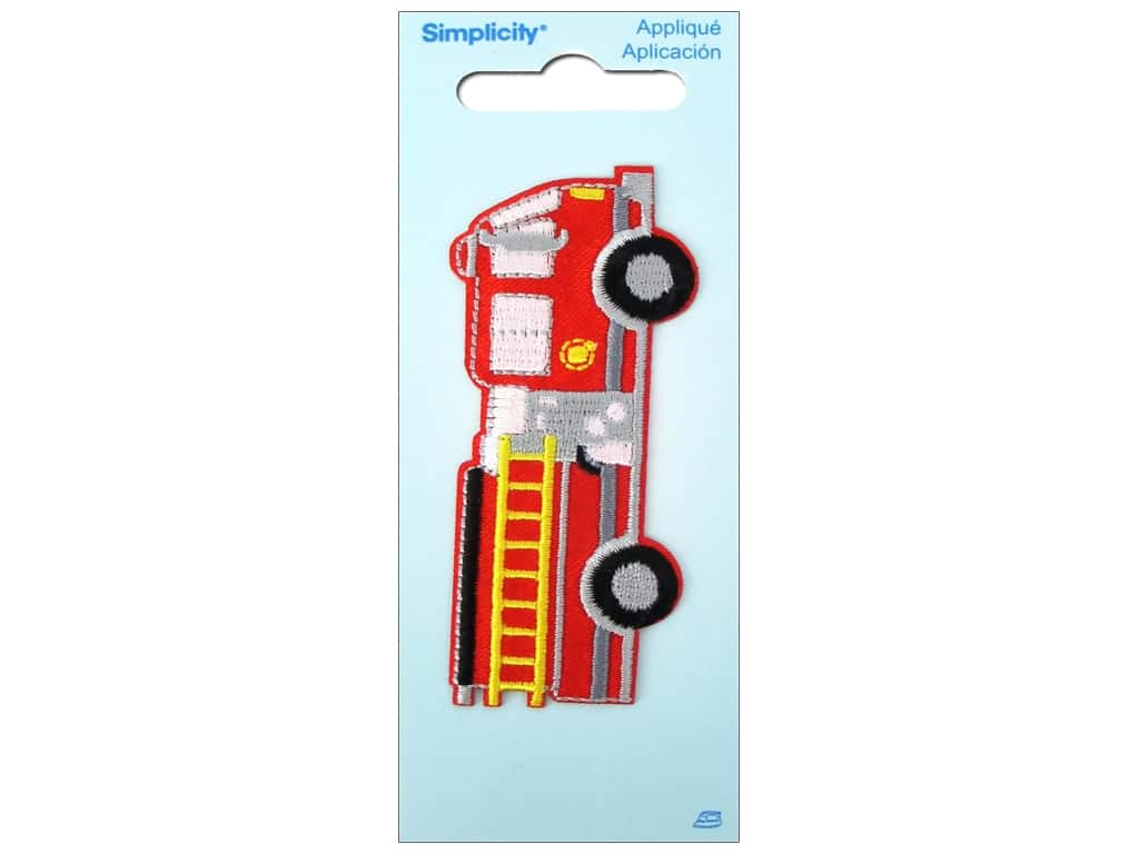 Simplicity iron on applique large fire truck createforless