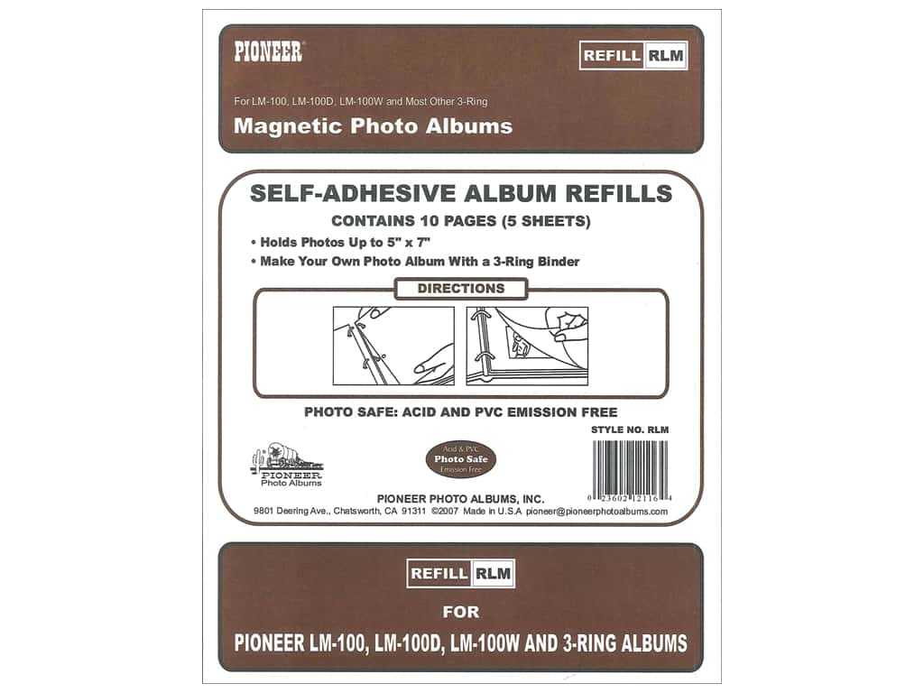 Genuine Pioneer Black Sheet Refill Pages With Sheet Protectors For