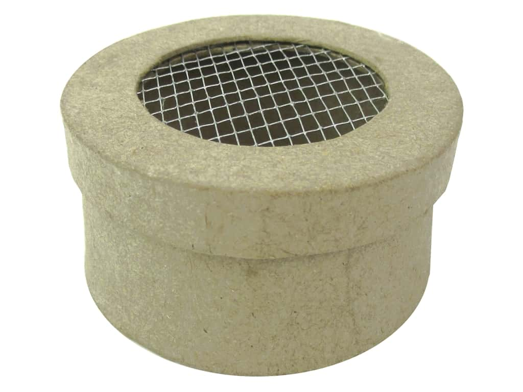 Pa Paper Mache Mini Round Box With Wire On Lid 3 In 1
