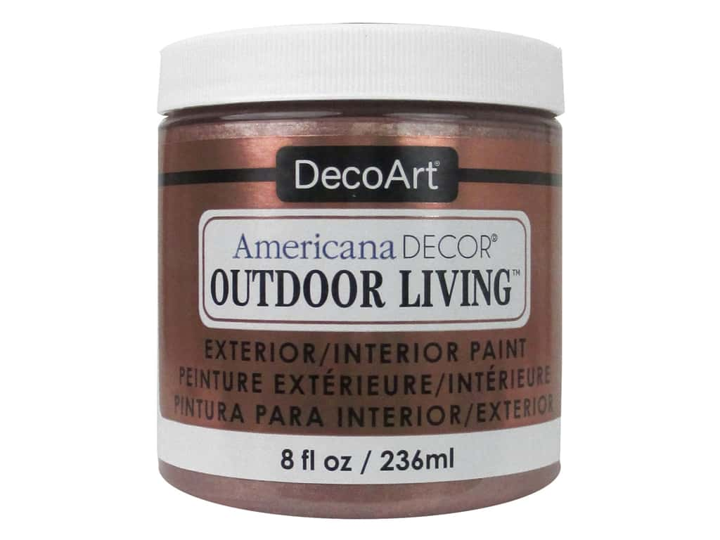 Decoart Americana Decor Outdoor Living Paint 8 Oz Metallic Rose