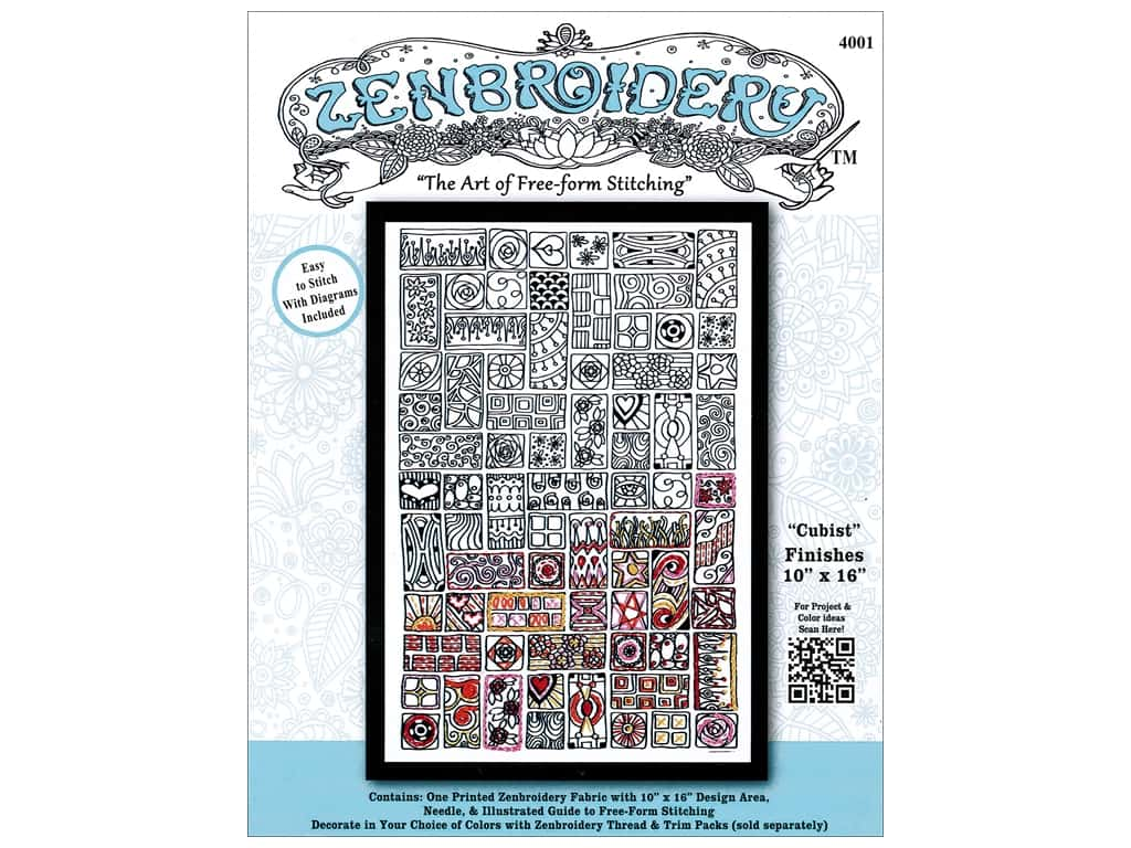Design Works Zenbroidery Stamped Embroidery Fabric Kit 10 x 16 in  Cubist 1