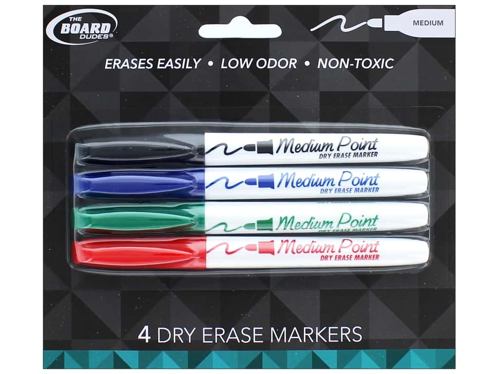 The Board Dudes Dry Erase Marker Medium Point 4 Pc Blue Black Green Red 1