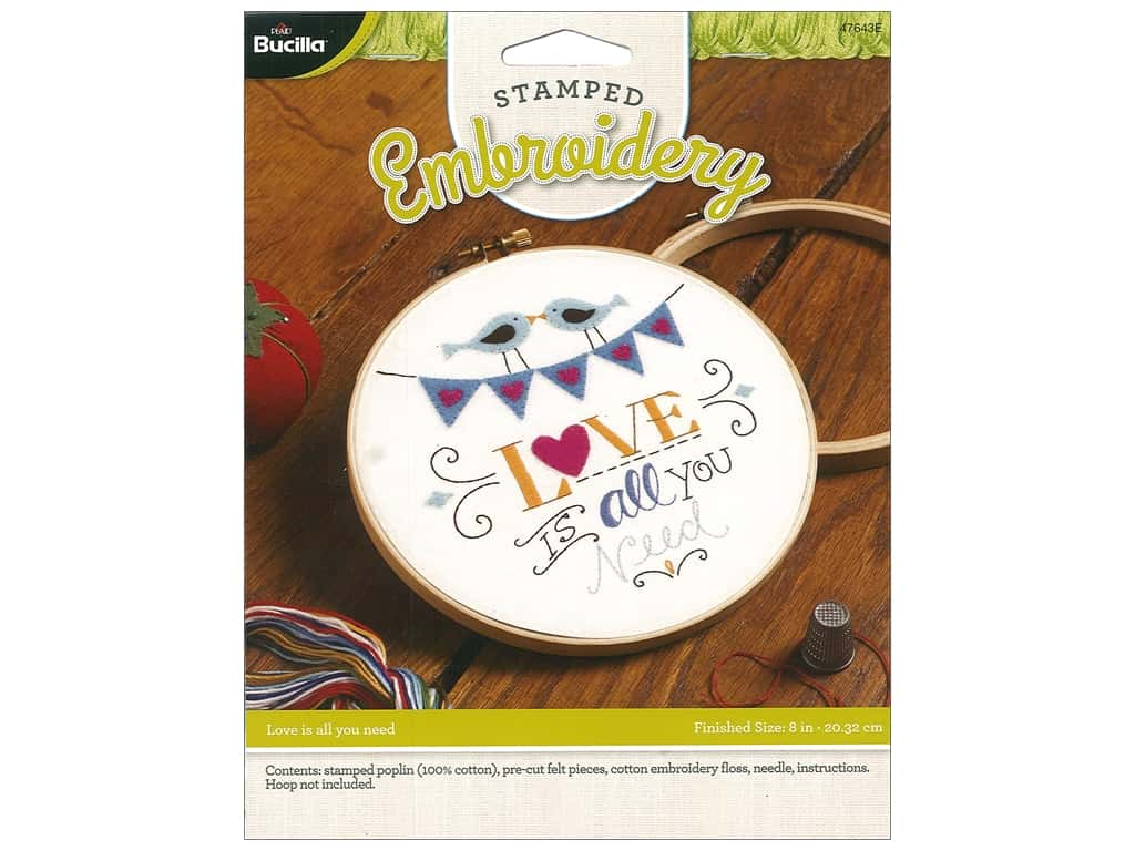 Bucilla Stamped Embroidery Kit Love Is All You Need Createforless