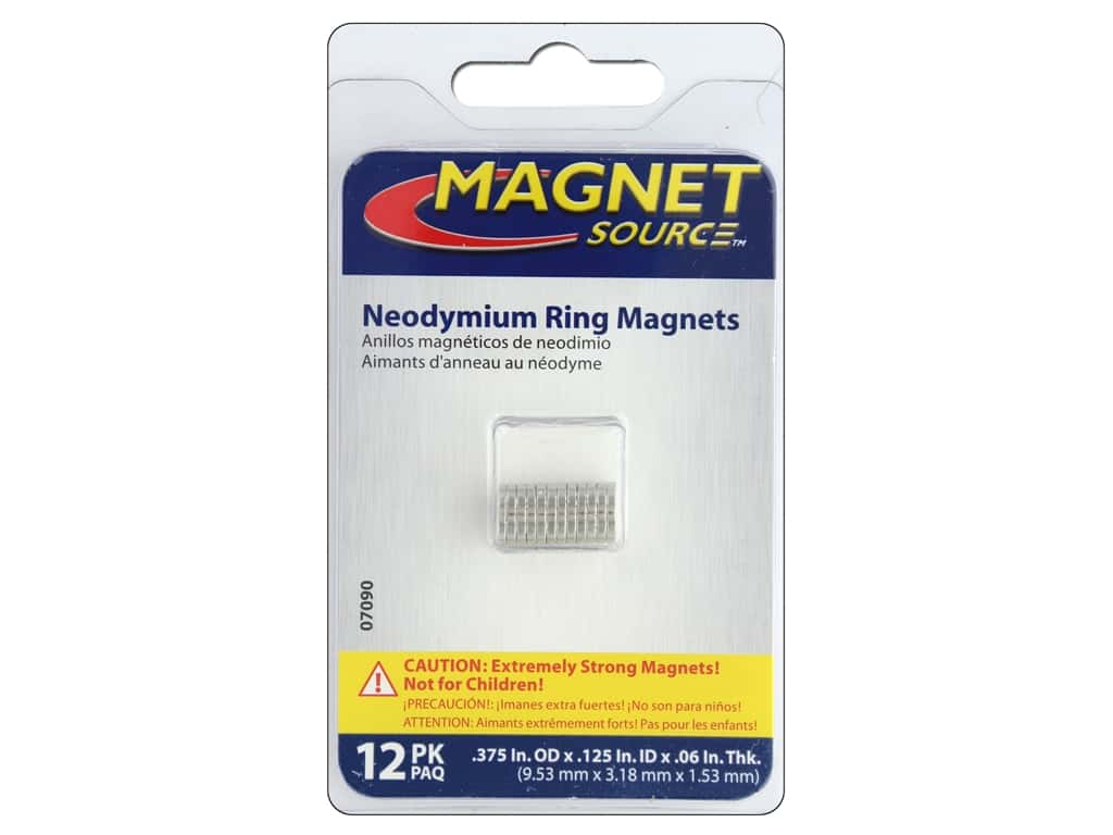 The Magnet Source Super Neodymium Magnet Rings 3/8 in  12 pc  1