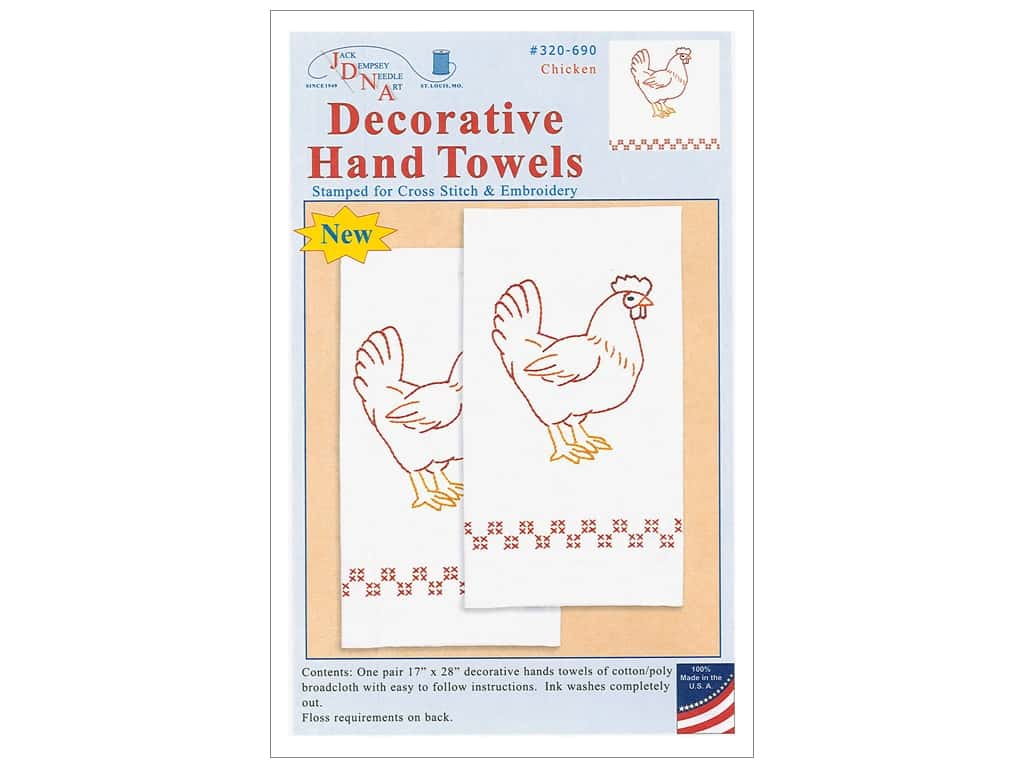 Jack Dempsey Decorative Hand Towel Chicken 2 pc 1