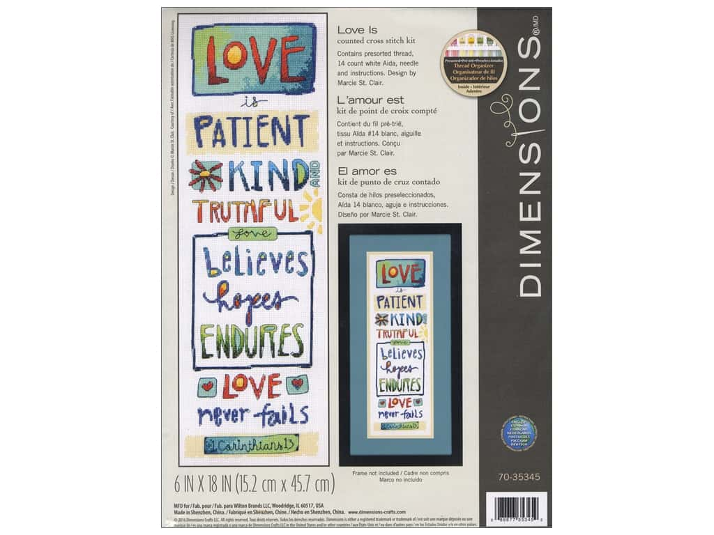 Dimensions Cross Stitch Kit 6 in  x 18 in  Love Is