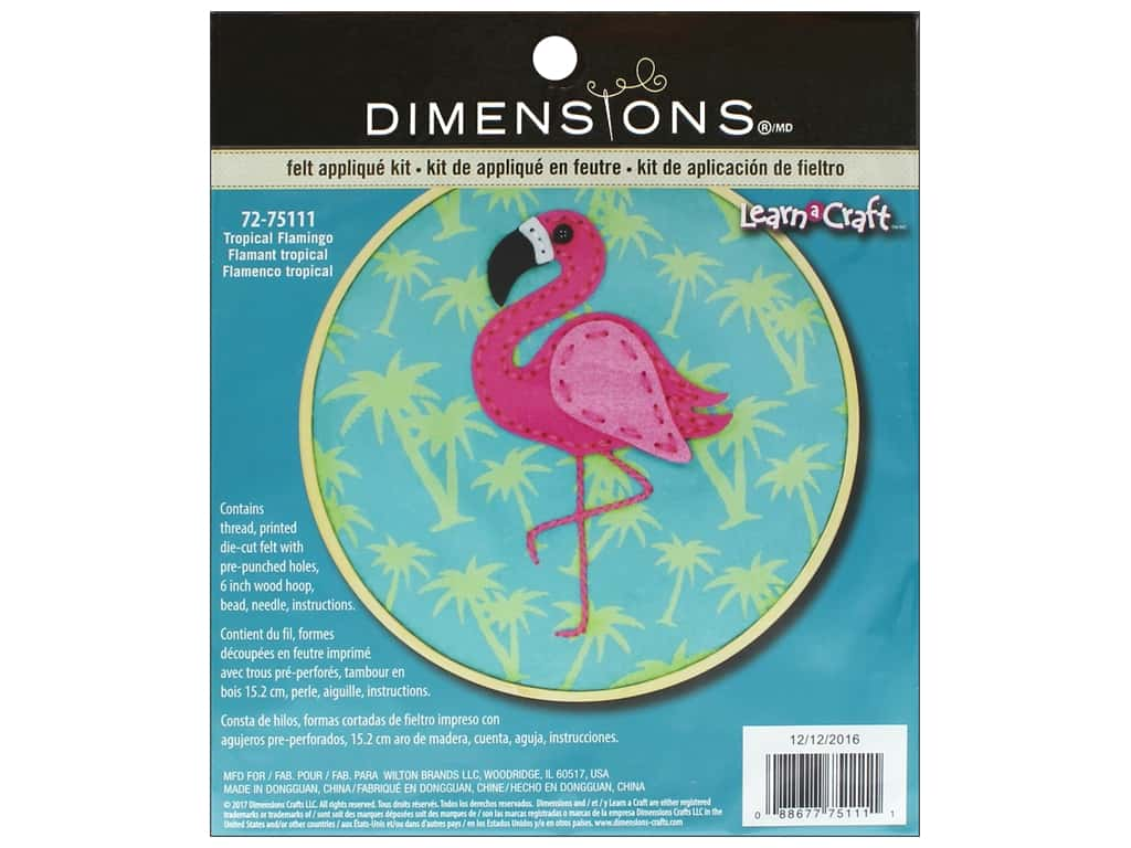 4 x 6 Dimensions Flamingo Felt Animals Needle Felting Craft Kit