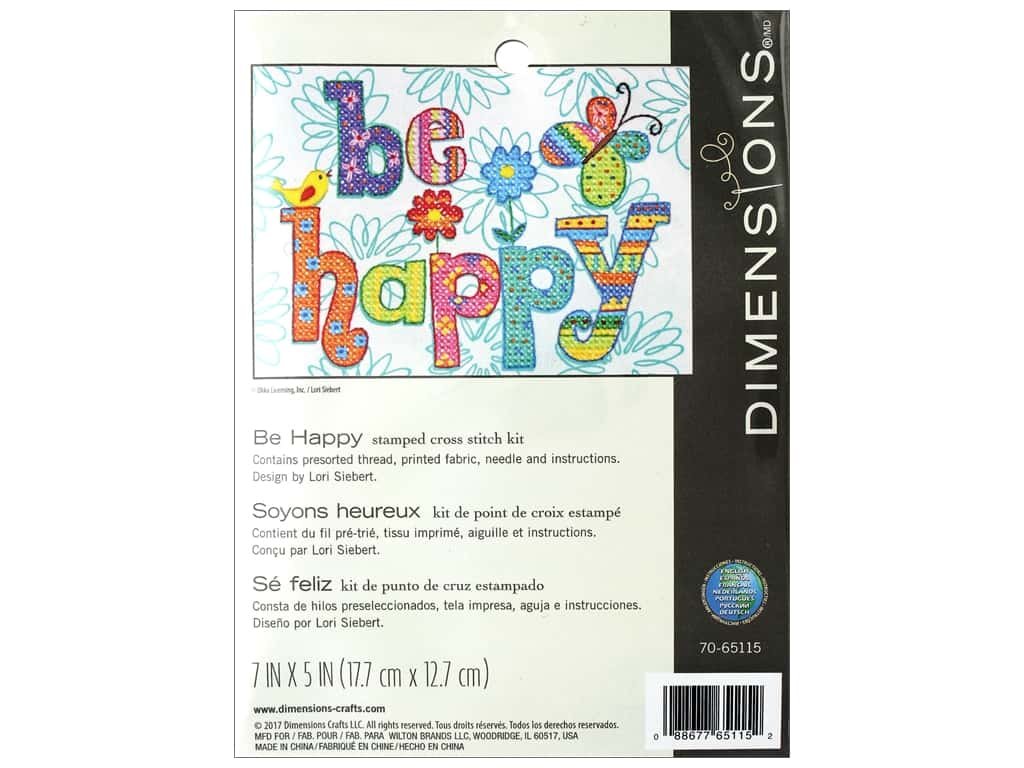 Dimensions Cross Stitch Kit 7 in  x 5 in  Be Happy 1