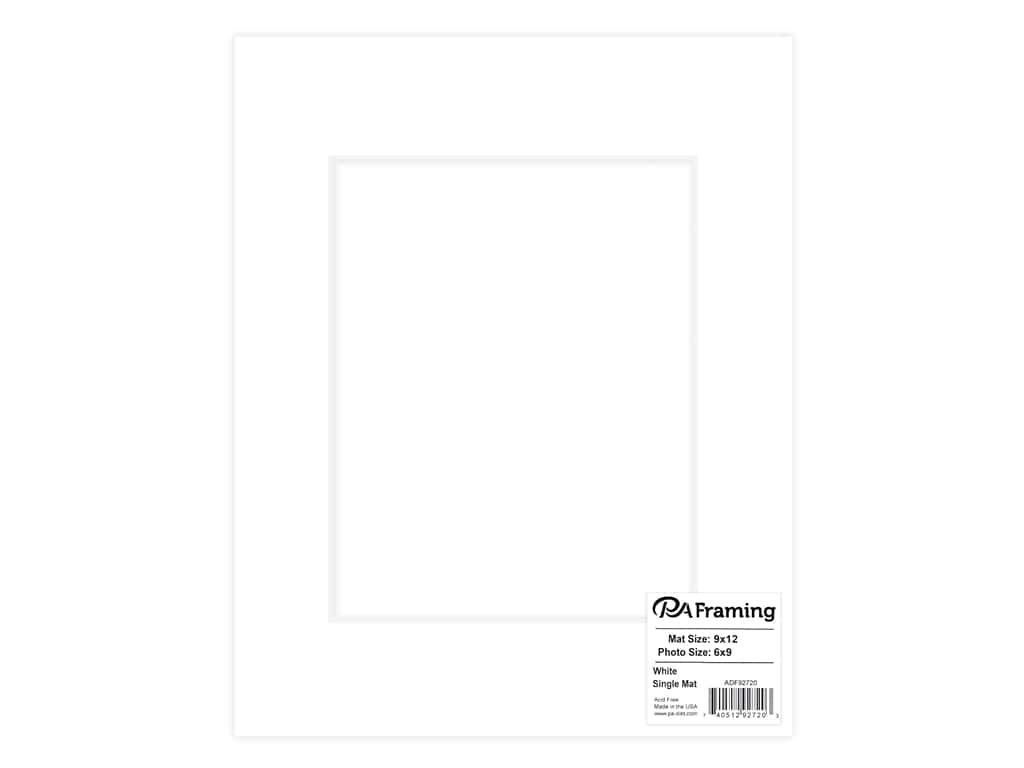 PA Framing Pre-cut Photo Mat Board White Core 9 x 12 in  for 6 x 9 in   Photo White 1