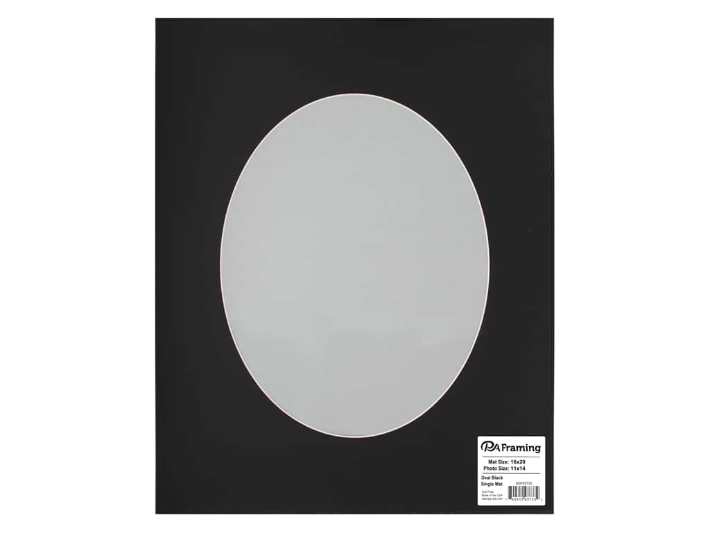Pre Cut Oval Photo Mat Board White Core 16 X 20 In Black