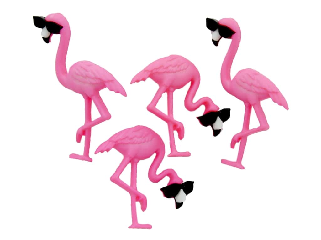 Shank Back Think Pink Flamingos Jesse James ~ Dress It Up Buttons