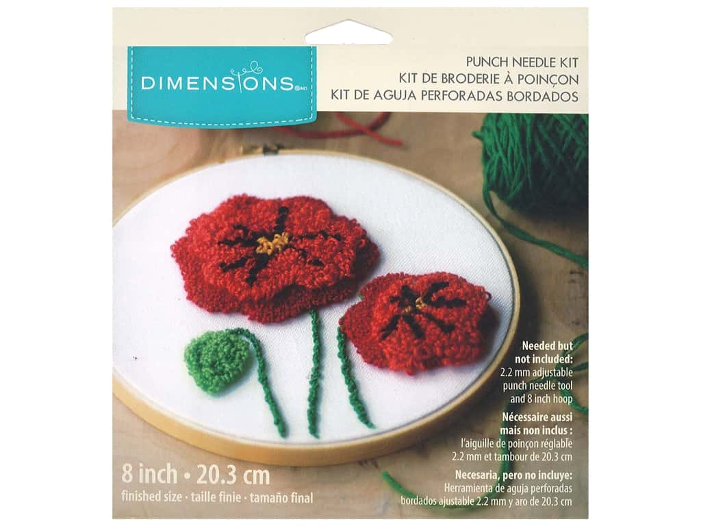 Dimensions Punch Needle Kit 8 in  Poppies